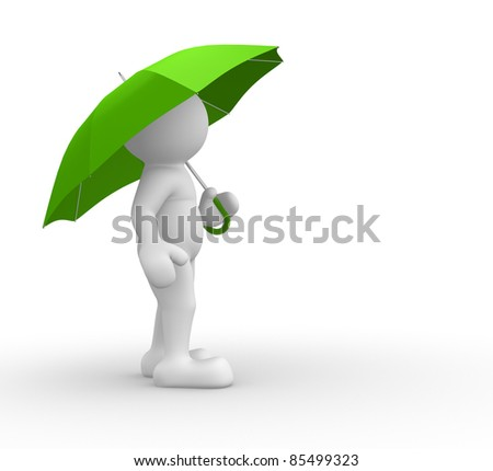 3d people- human character under green umbrella  - This is a 3d render illustration - stock photo