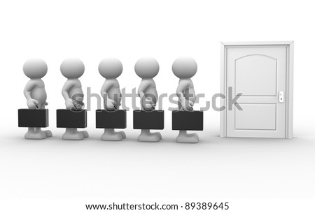 3d people - human character -waiting in front of closed door. 3d render illustration - stock photo