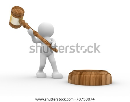 3d people- human character  with a justice hammer - gavel sound. 3d render illustration - stock photo