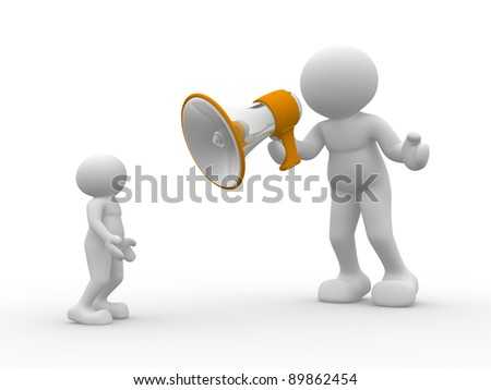 3d people - human character with a  megaphone. 3d render - stock photo