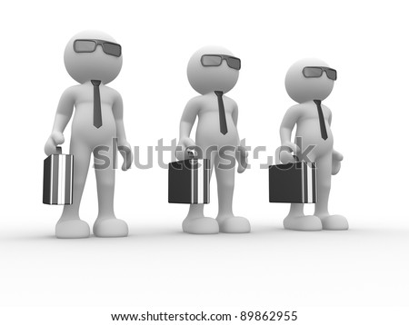 3d people - human character with briefcase and sunglasses. 3d render illustration - stock photo