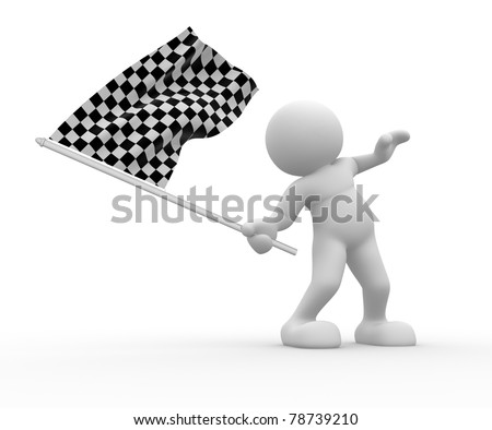 3d people - human character with flag on white background. 3d render illustration - stock photo
