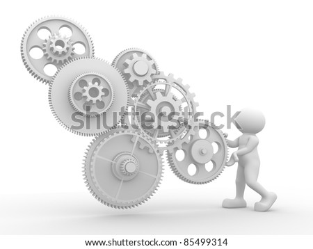 3d people - human character  with gear mechanism. 3d render illustration - stock photo