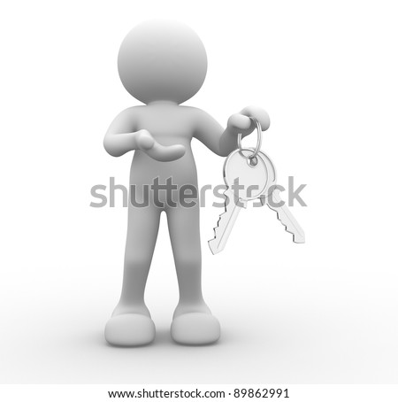 3d people - human character with  keys in hand. 3d render illustration
