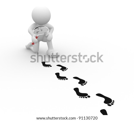 3d people - human character with magnifier and footprints.  3d render illustration