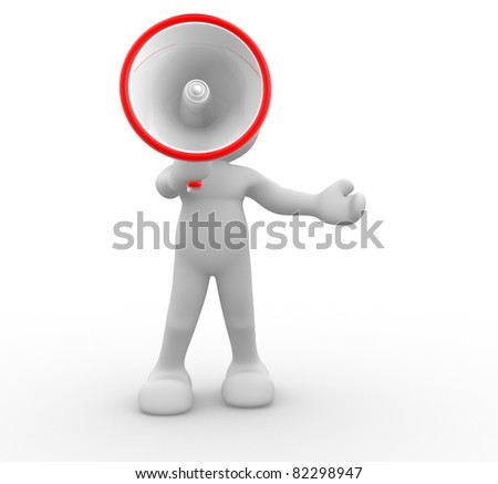 3d people- human character with megaphone.This is a 3d render illustration