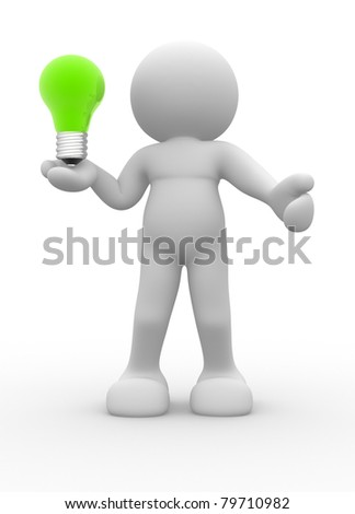 3d people - human charcacter with a light bulb - 3d render illustration
