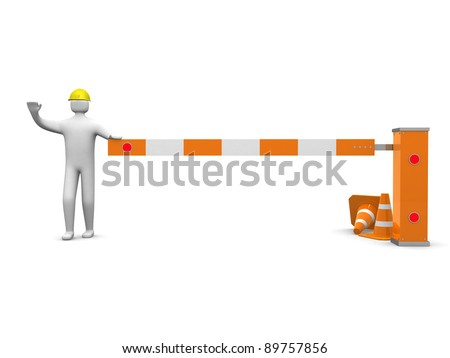 3d people icon and under construction - 3d render illustration - stock photo