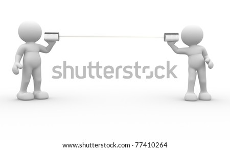 3d people icon communication at tin -This is a 3d render illustration - stock photo