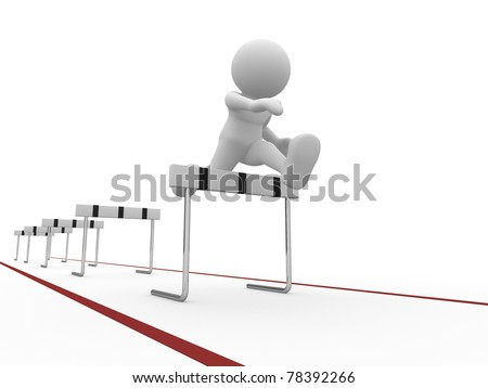 3d people icon  jumping over a hurdle obstacle  .This is a 3d render illustartion