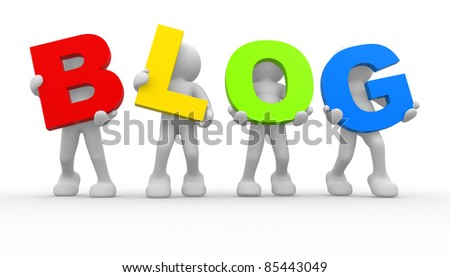 "3d people icon the word ""blog""- This is a 3d render illustration - stock photo"