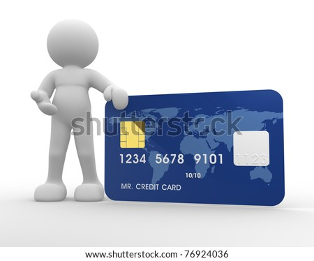 3d people icon with a credit card on a white background- This is a 3d render illustration - stock photo