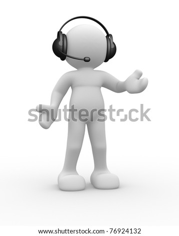 3d people icon with headphones - This is a 3d render illustration