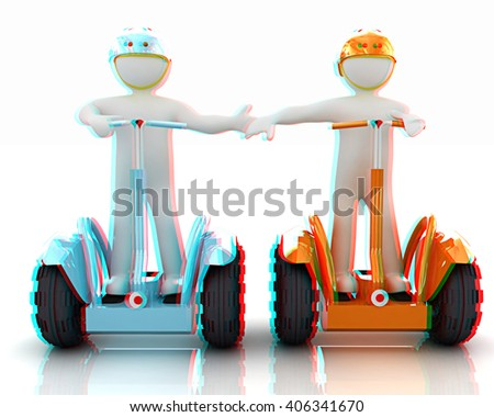 3d people in riding on a personal and ecological transport in helmet and holding hands. Concept of partnership. 3D illustration. Anaglyph. View with red/cyan glasses to see in 3D. - stock photo