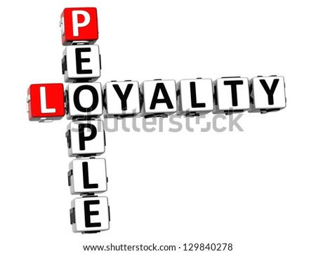 3D People Loyalty Crossword on white background - stock photo