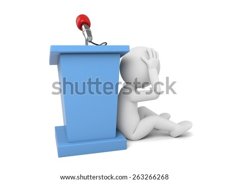 3d people make a speech. 3d image. Isolated white background - stock photo