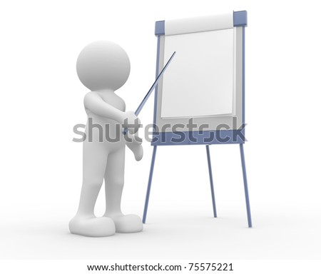 3d people - man and flip-chart communication - stock photo