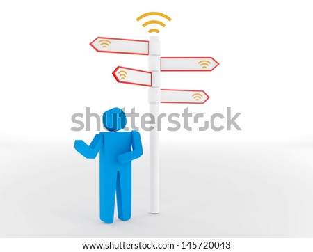 3d people - man and woman, person standing in front of a wifi signs. 3d image. Isolated white background.
