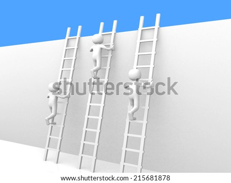 3d people - man climbing ladders - 3d render - stock photo