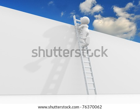 3d people - man climbing the ladder to sky- This is a 3d render illustration - stock photo