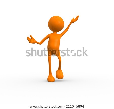 3d people - man jumping by happy  - stock photo