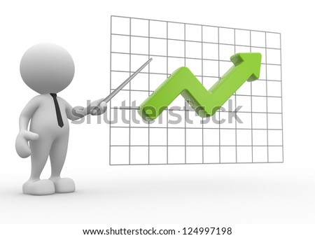 3d people - man, people with  a growth graph - stock photo