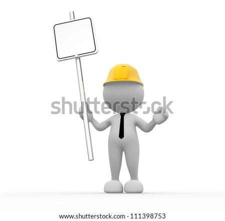 3d people - man, people with blank sign in a hand
