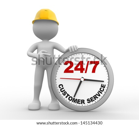3d people - man, person a clock. Customer service 24/7