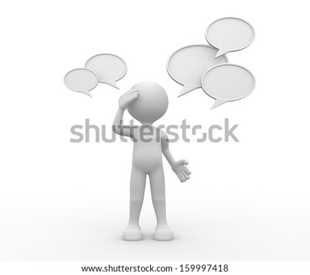 3d people - man, person and  a blank bubble speach - stock photo