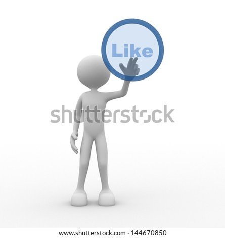"""3d people - man, person and a button """" like """" - stock photo"""