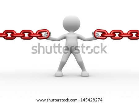 3d people - man, person and a chain - stock photo