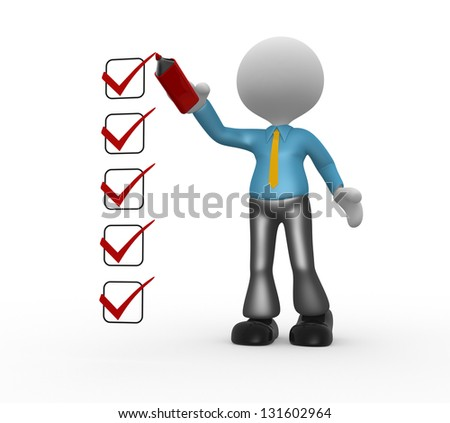 3d people - man, person and a checklist - stock photo