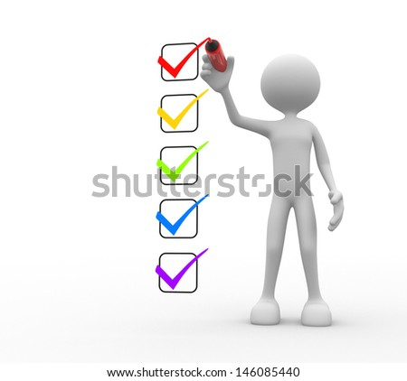 3d people - man, person and a checklist. - stock photo