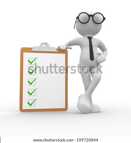 3d people - man, person and  a clipboard - stock photo