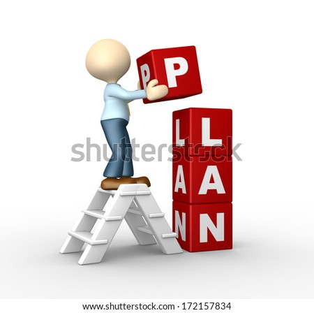 "3d people - man, person and a cubes with word "" plan "" - stock photo"
