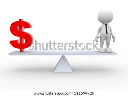 3d people - man, person and a dollar sign. Businessman - stock photo