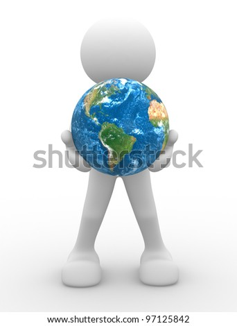 3d people - man, person and a earth globe.