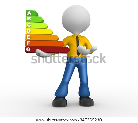 3d people - man, person and a energy chart with clipping path. Energy efficiency concept. - stock photo