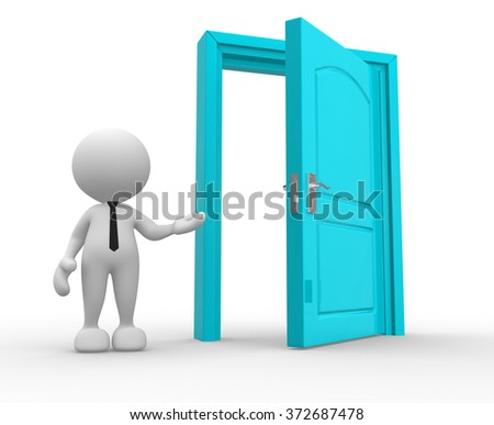 3d people - man, person and a open door. - stock photo