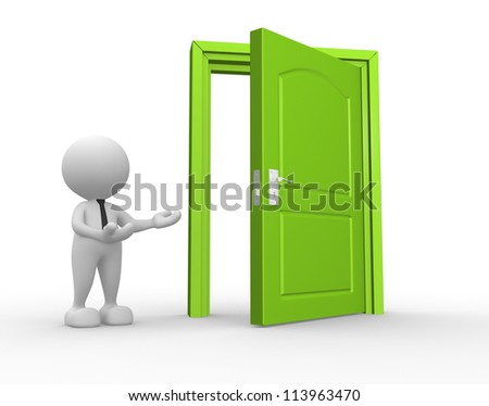 3d people - man, person and a open door. Businessman - stock photo