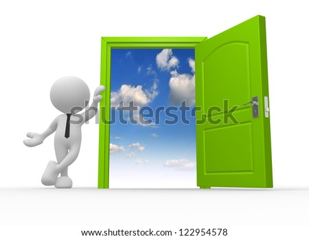 3d people - man, person and a open door to heaven - stock photo