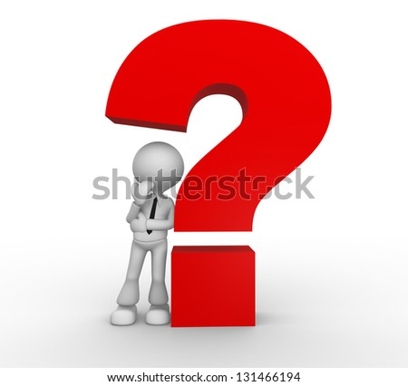 3d people - man, person and a question mark. - stock photo