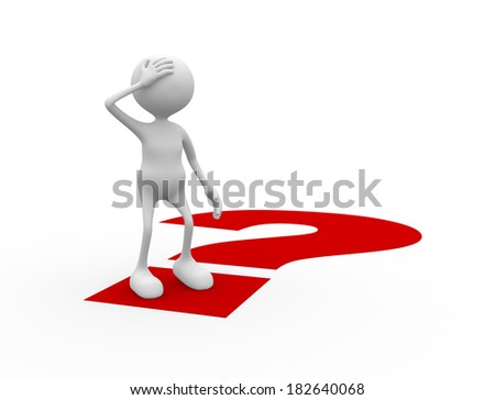 3d people - man, person and a question mark. Confused - stock photo