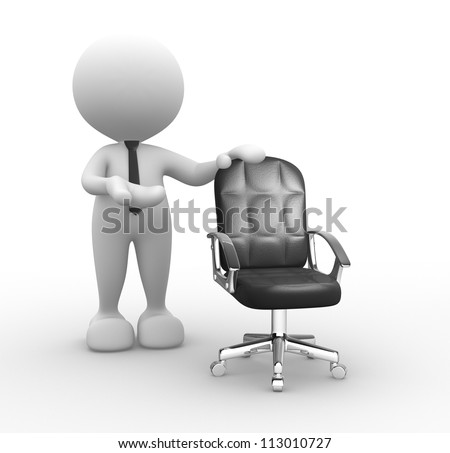 3d people - man, person and  an empty chair.