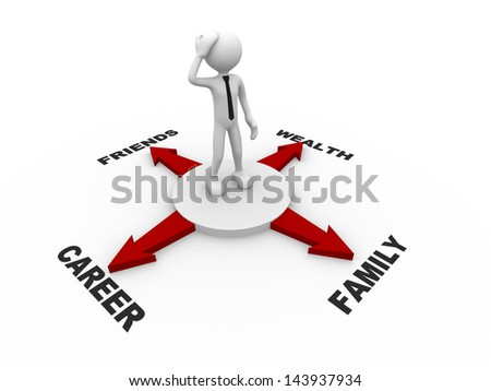 3d people - man , person and arrows in different directions. Concept of confusion. - stock photo