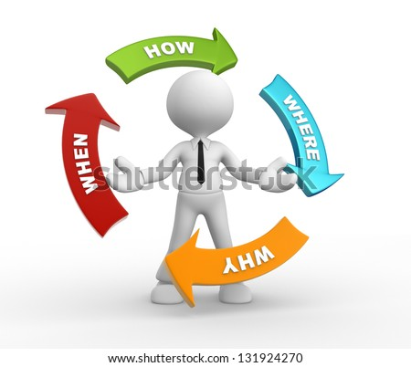 3d people - man, person and arrows with various questions ( where?, why?, when?, how?) - stock photo