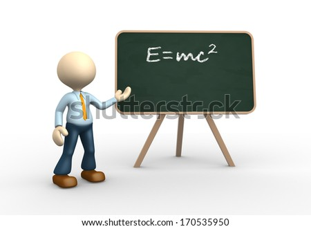 3d people - man, person and blackboard with written einstein's theory. - stock photo