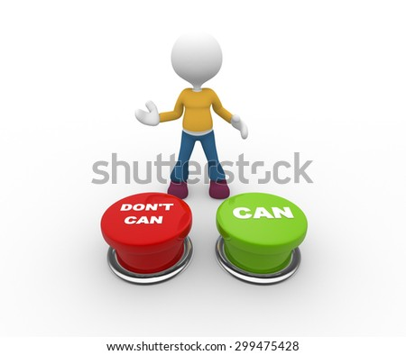 3d people - man, person and buttons. Can or dont' can - stock photo