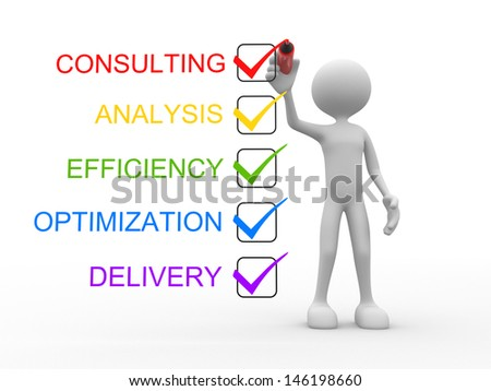 3d people - man, person and check list. Consulting, analysis, efficiency, optimization, delivery