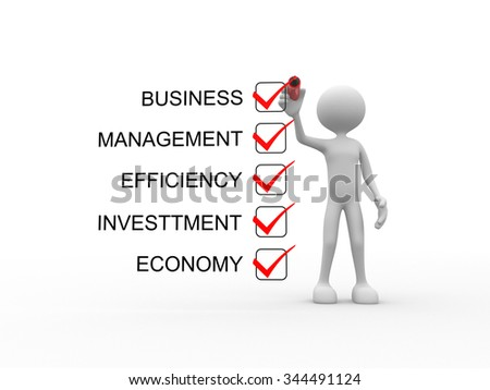 3d people - man, person and checklist. Business concept - economy, investtment, efficiency, management, business, economy